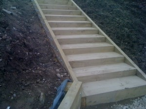 Garden Steps constructed with new sleepers