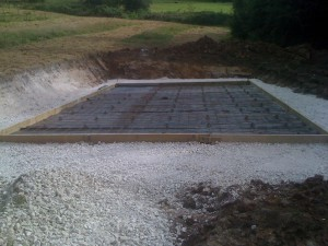 Shuttering, polythene, reinforcing mesh ready for concrete