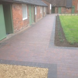 Brindle clay path with charcoal paviour edge