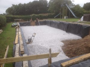 Drainage Stone compacted for pool base