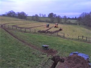 Trenching to lay Geo Thermal Pipes Ashbourne