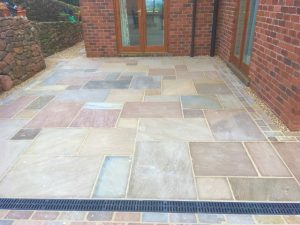 Indian Stone Patio with Aco drain